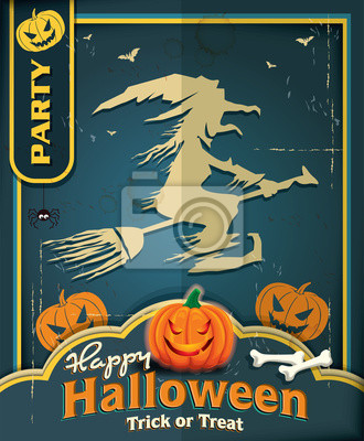 Vintage plakat z Halloween czarownica projekt