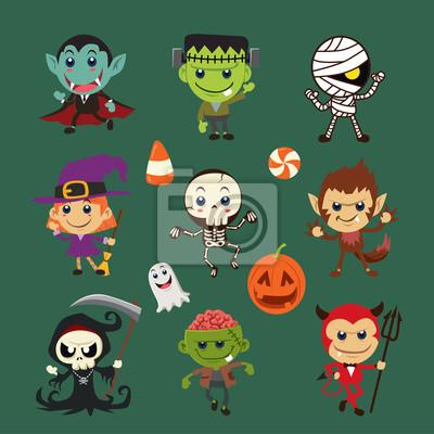 Vintage plakat z Halloween z czarownicą, mumia, czarownica, zombie, diabeł, szkielet, wampir, duch, żniwiarz, wilk, charakter ducha.