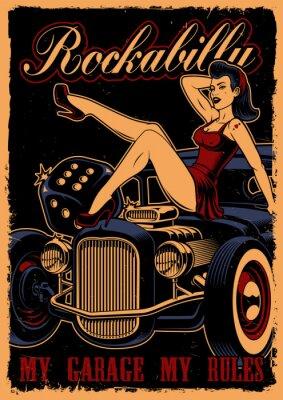 Plakat Vintage plakat z pin up girl i klasyczny samochód