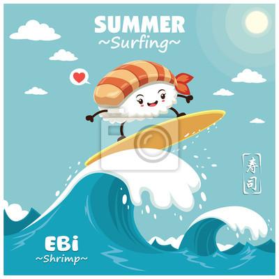 Vintage plakat z plakatem sushi sushi surfer. Chińskie słowo oznacza sushi.