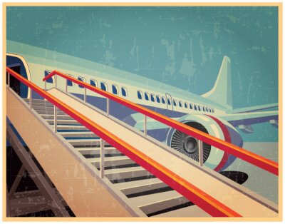 Plakat Vintage plakat z samolotem