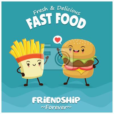 Vintage plakat żywności z charakterem burgera i frytki.