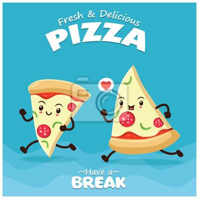 Vintage plakat żywności z charakterem pizzy.