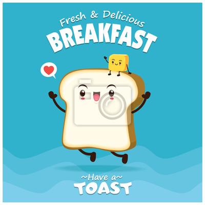 Vintage plakat żywności z chlebem i masłem charakter.