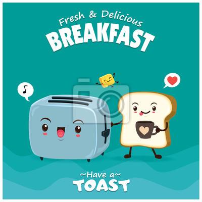 Vintage plakat żywności z chlebem, masłem i tostem charakter.