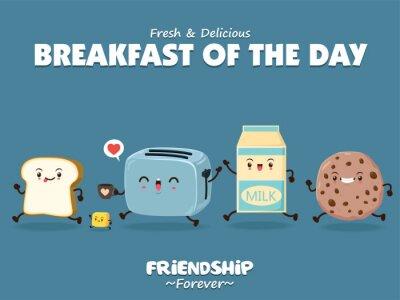 Vintage plakat żywności z chlebem, masłem, tosterem, mlekiem i ciasteczkami.