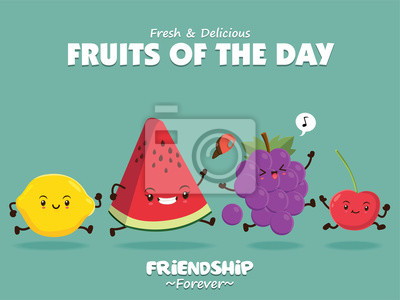 Vintage plakat żywności z cytryną wektor, melon wody, winogron, charakter wiśni.