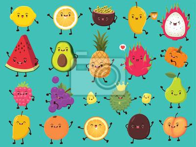 Plakat Vintage plakat żywności z cytryną wektor, owoce męczennicy, mango, owoce smoka, awokado, ananasa, dyni, wiśni, winogron, duriana, gruszki, pomarańczy, charakter brzoskwini.