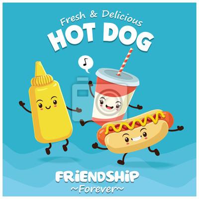 Vintage plakat żywności z hot dog, musztarda, drink znak.