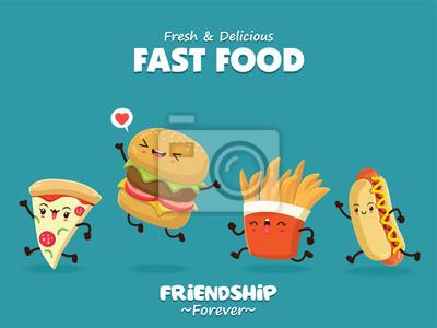 Vintage plakat żywności z pizza, hamburger, hot dog, frytki charakter.