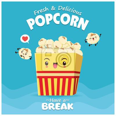 Vintage plakat żywności z popcorn charakter.