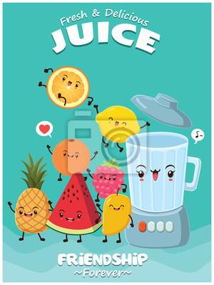 Vintage plakat żywności z wektorem pomarańczowy, arbuz, ananasa, cytryna, berry, mango i blender.