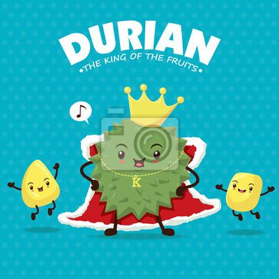Vintage plakaty owoce o charakterze wektorowym z durian.