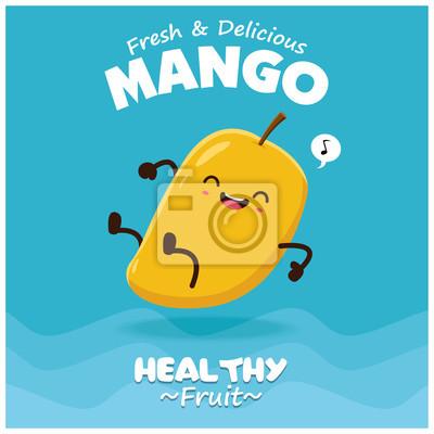 Vintage plakaty owoce plakaty z wektorem charakter mango.