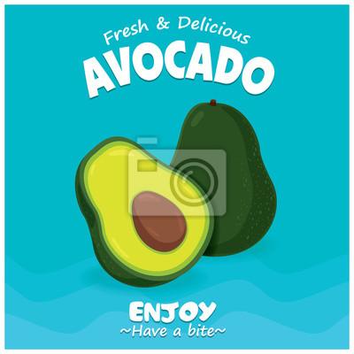 Vintage plakaty owocowe design z owocami awokado wektora.