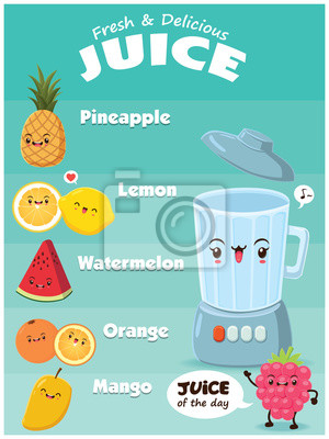 Vintage plakaty żywności projektowania z wektorem ananas, cytryna, jagód, arbuz, pomarańczowy, mango i blender charakteru.
