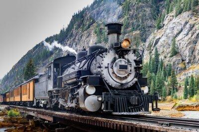 Plakat Vintage pociąg Steam Przekraczanie rzeki w Kolorado