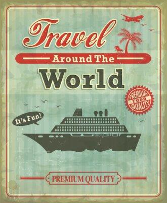 Vintage Podróż dookoła świata plakatu