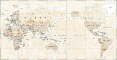 Plakat Vintage Polityczna mapa świata w centrum Pacyfiku