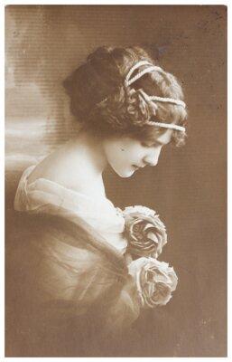 Plakat Vintage portret zdjęcie młodej kobiety
