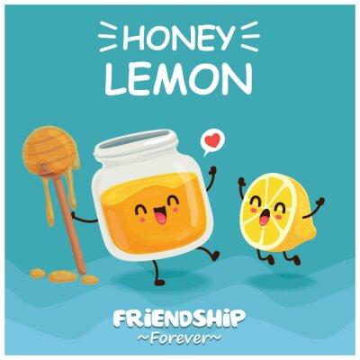 Vintage poster design with vector honey & lemon character.