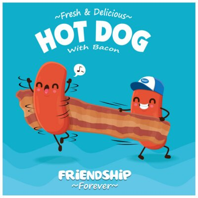 Vintage poster design with vector hot dog, bacon character.