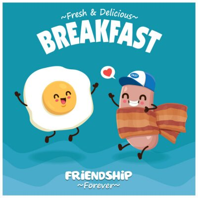 Vintage poster design with vector hot dog, bacon & egg character.