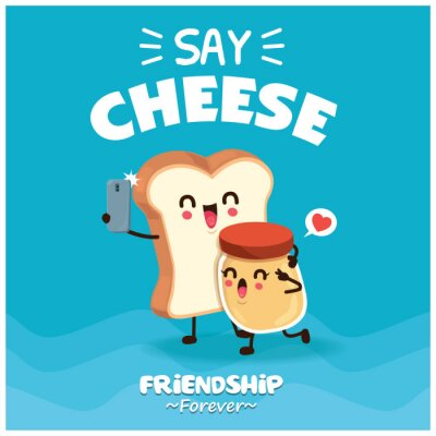Vintage poster design with vector toast & jam character.
