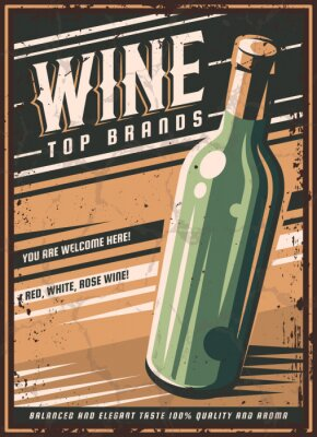 Plakat Vintage poster of a bottle of wine. Overlay vector texture. Minimalism old banner, vector image.