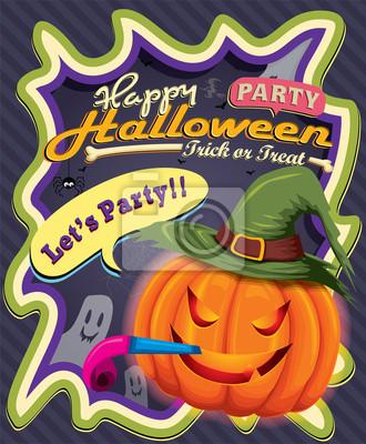 Vintage projekt plakatu z Halloween Jack O Lantern