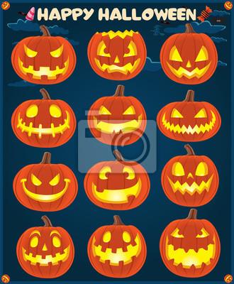 Vintage projekt plakatu z Halloween Jack O Lantern zestawie