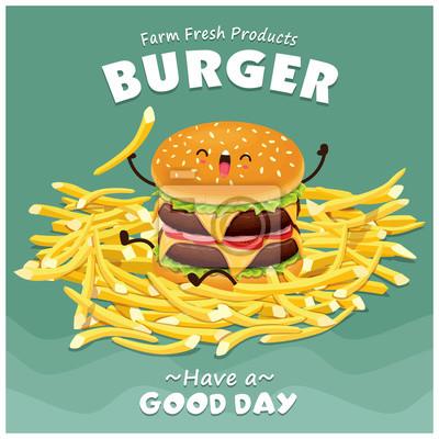 Vintage projektu Burger plakat zestaw z charakterem wektorowych Burger.