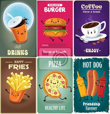 Vintage projektu fast food plakat zestaw z napojem, burger, frytki, kawa, pizza, hot charakteru psa.
