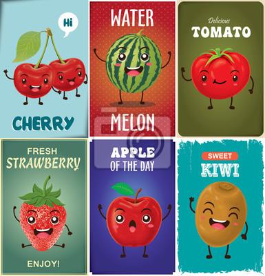 Vintage projektu Fruit poster zestaw z charakteru owocowego.