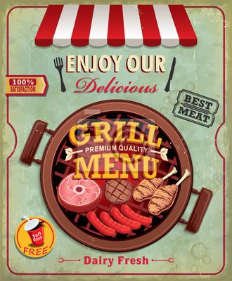 Plakat Vintage projektu grill plakat z kiełbasy, mięsa, drobiu