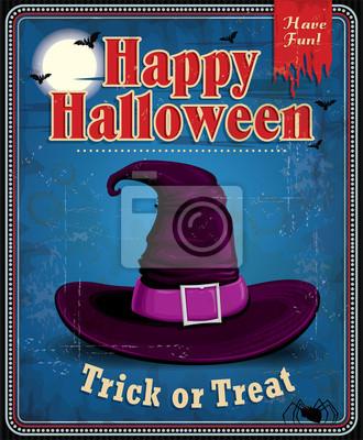 Vintage projektu Halloween czarownica kapelusz plakat