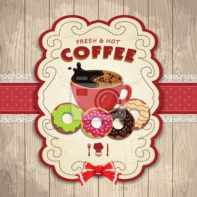 Plakat Vintage projektu kawy pączek z plakatu