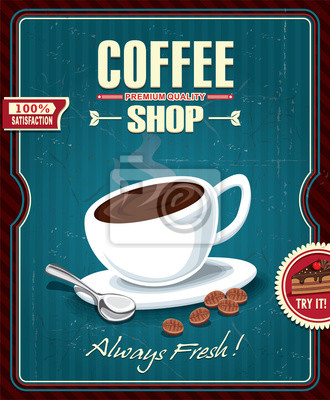 Vintage projektu kawy plakat