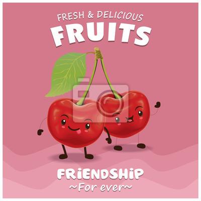 Vintage projektu owoce plakat z charakterem wektorowych wiśniowym.