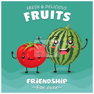 Vintage projektu owoce wektor plakat z pomidorów i arbuza charakter.