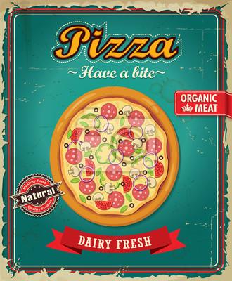 Vintage projektu Pizza plakat z wektora pizzy.