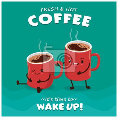 Vintage projektu plakatu kawy z charakterem wektorowych kawy.