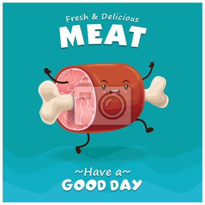 Vintage projektu plakatu Mięso z charakterem mięsa wektorowych.