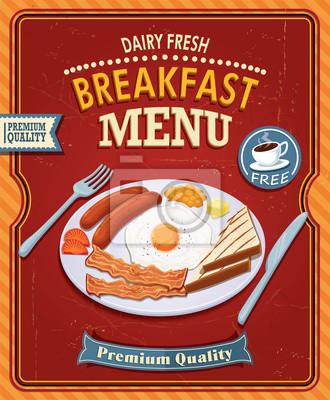 Vintage projektu plakatu Śniadanie z boczkiem i jajkiem