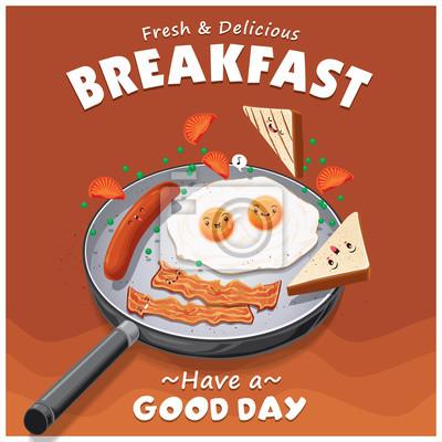 Vintage projektu plakatu śniadanie z jajkiem, kiełbasą, wektor znak chleba.
