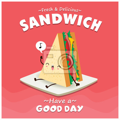 Vintage projektu sandwich plakat z charakterem wektora warstwowej.