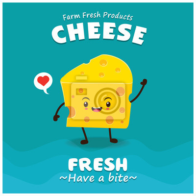 Vintage projektu Ser plakat z charakterem wektorowych sera.
