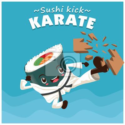 Vintage projektu sportu plakat z charakterem wektorowych sushi karate kick.