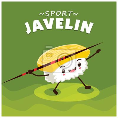 Vintage projektu sportu plakat z wektora sushi rzucanie oszczepem charakter.