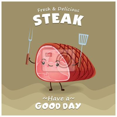 Vintage projektu Steak plakat z charakterem wektorowych stek.